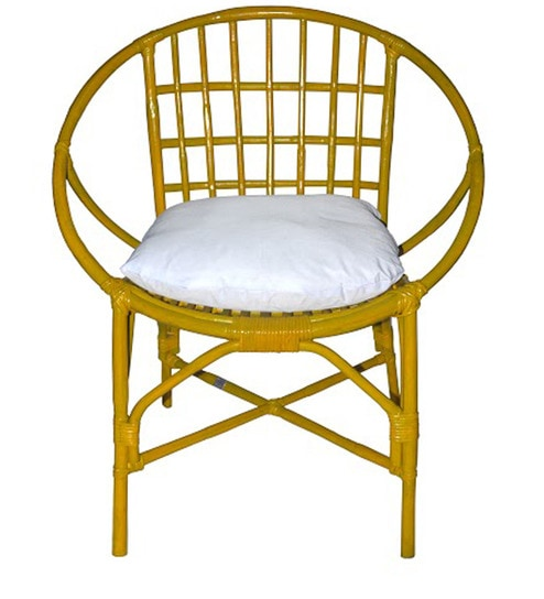 buy garden cane chair in yellow colour by amour online decor