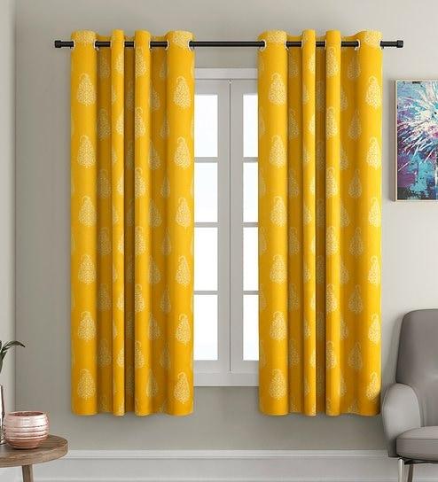 Yellow Blackout Cotton 5 Feet Eyelet Window Curtain By Soumya