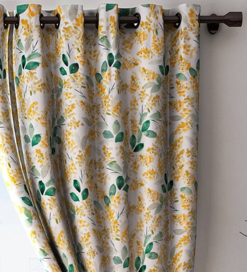 Buy Yellow Blackout Polyester 7 Feet Eyelet Curtain By Houzzcode Online Floral Curtains And Drapes Curtains And Drapes Furnishings Pepperfry Product