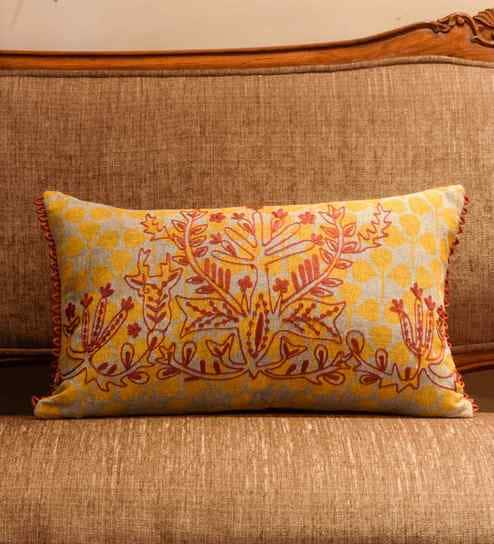 Yellow Cotton 12 X 20 Inch Pillow Cover By The Cushion Project
