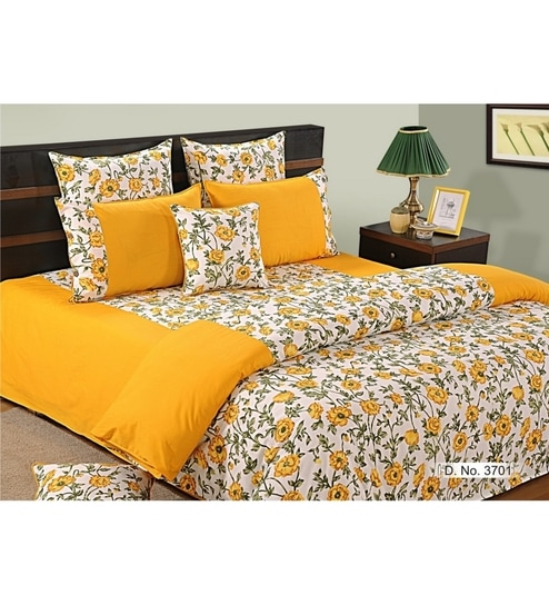 Buy Yellow Cotton King Size Bedsheet Set Of 3 By Swayam Online