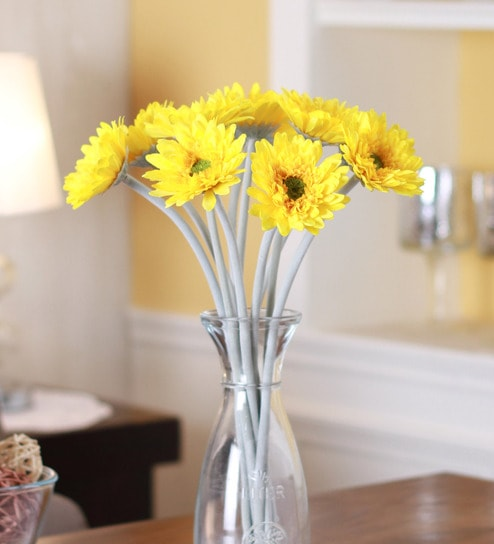 Yellow Fabric & Plastic Artificial Gerbera Flower Stem by Fourwalls - Set  of 10