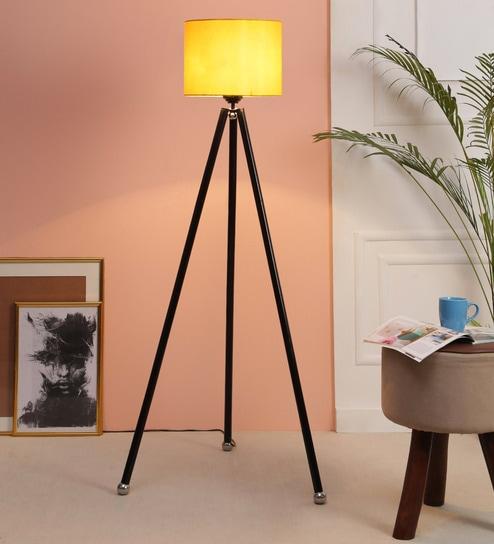Yellow Fabric Floor Tripod Lamp - 1693607