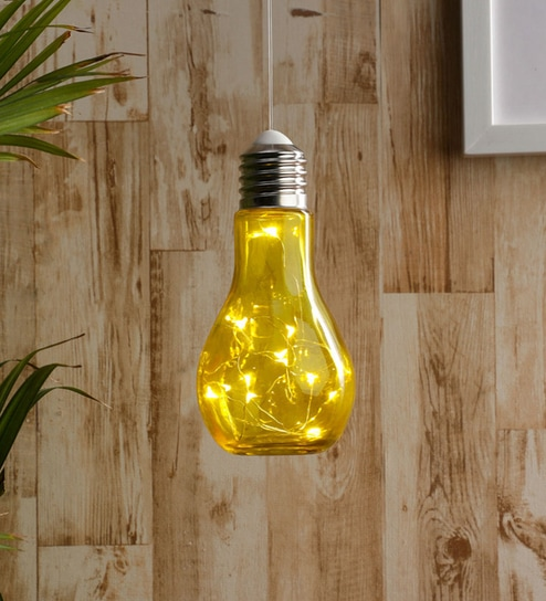 Yellow Gl Battery Operated Bulb Shade Hanging Lamp By Tu Casa