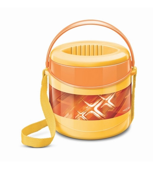 Yellow Plastic & Stainless Steel Lunch Box With Leak Lock 2 Containers