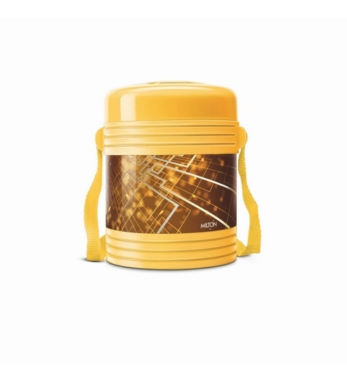 Yellow Plastic & Stainless Steel Lunch Box With Leak Lock 3 Containers