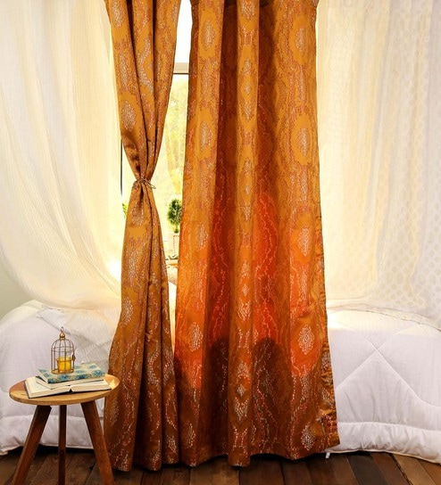 Yellow Polyester 48 X 86 Inch Jacquard Curtains