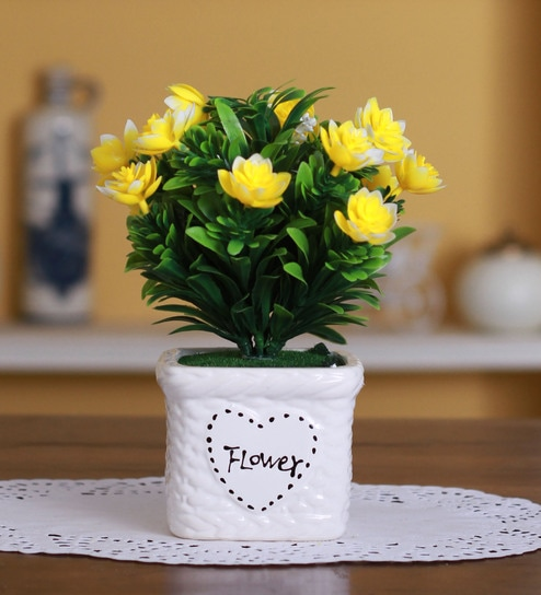 Buy Yellow Polyester Artificial Lotus Flower In A Ceramic Vase By