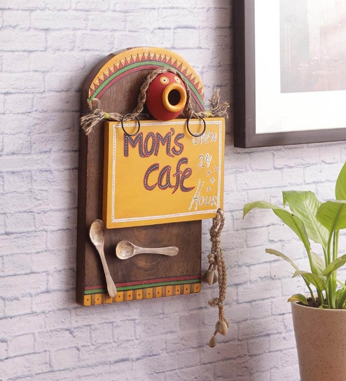 Yellow Sheesham Wood 24x7 Mom S Kitchen Wall Hanging By Vareesha Online Metal Art Accents Pepperfry Product