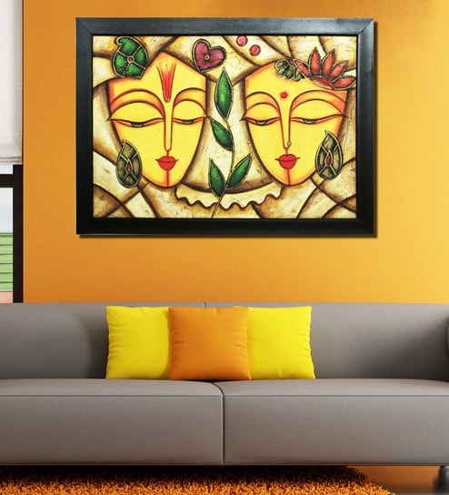 Yellow Wood Abstarct Figurine Handmade Oil Painting On Canvas By Chaque  Decor