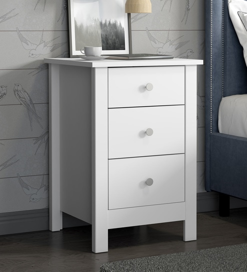 Buy Yemon Bed Side Table with 3 Drawers in White Finish by Mintwud ...