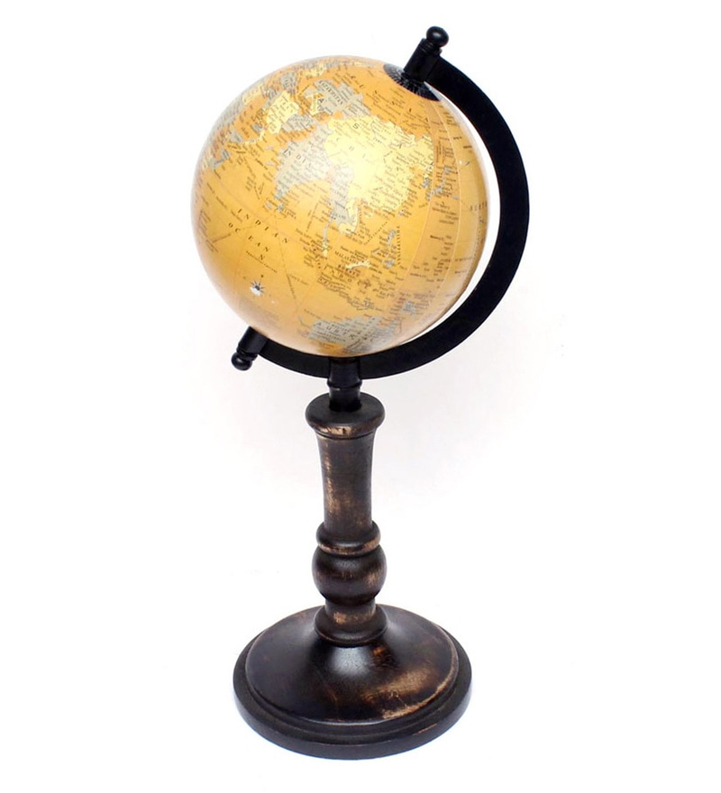 Yellow & Antique Wood Globe By Home Sparkle