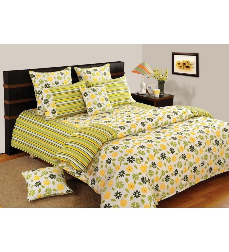 Yellow Cotton King Size Bedsheet - Set of 3 by Swayam