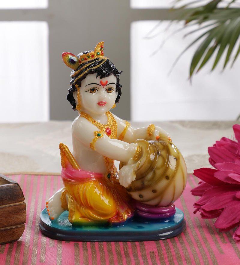 Yellow Marble Matki Kanha Ji Idol by Gallery99