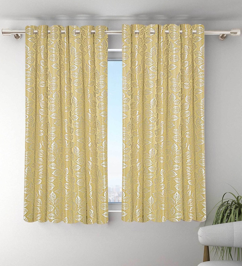 Yellow Polyester Window Curtains - Set of 2 by Vista Home Fashion