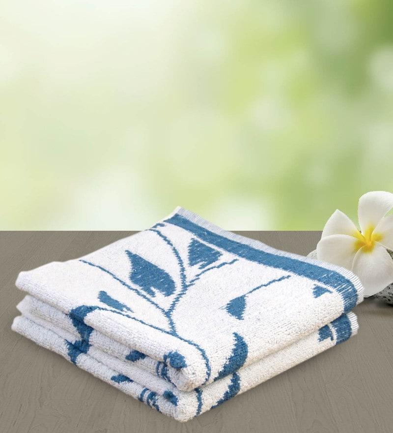 Blue 100% Cotton 19 x 33 Hand Towel by Yellow Spun
