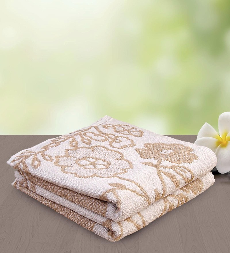Brown and White 100% Cotton 15 x 27 Hand Towel - Set of 2 by Yellow Spun