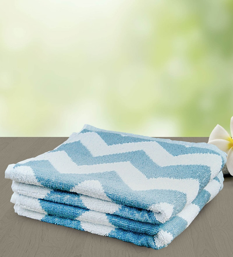Sky Blue and White 100% Cotton 15 x 27 Hand Towel - Set of 2 by Yellow Spun