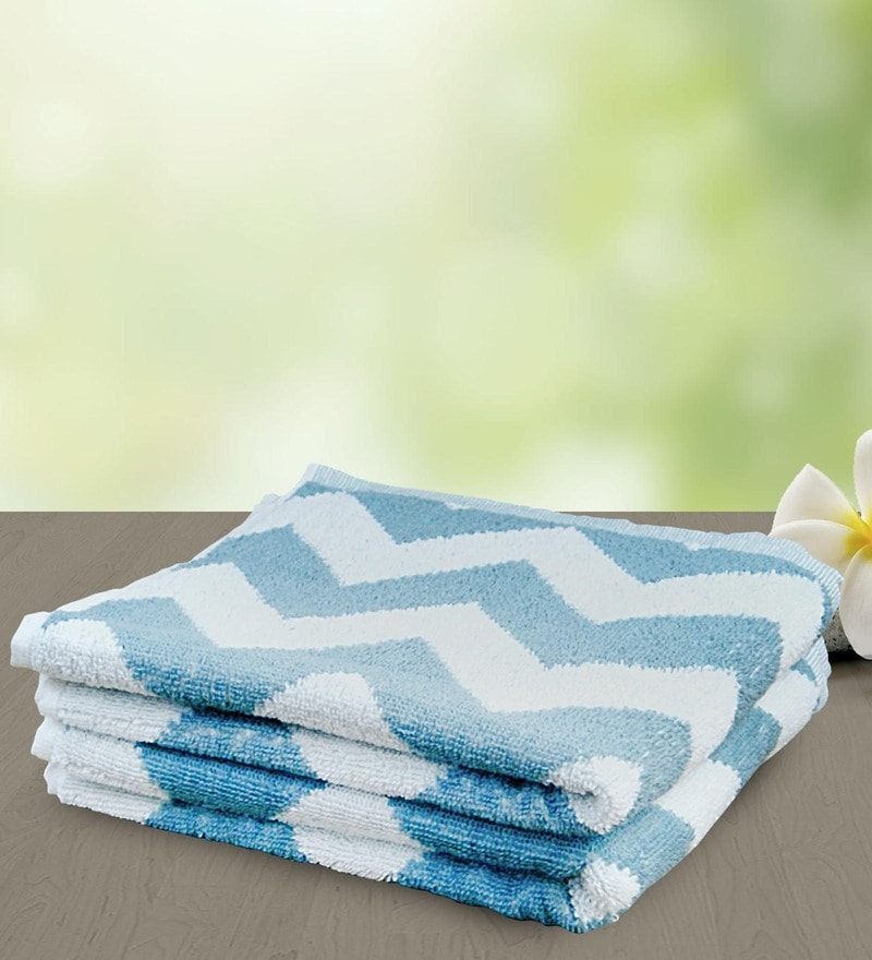 Sky Blue and White 100% Cotton 25 x 50 Bath Towel by Yellow Spun