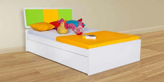 Elegant Young America Kids Queen Size Bed In Yellow And Green Colour By Alex Daisy
