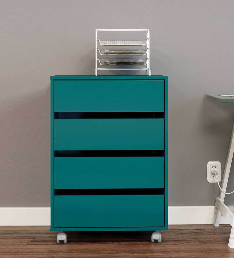 Youta Storage Unit with Four Drawers & Swivel Castors in Turquoise Colour by Mintwud