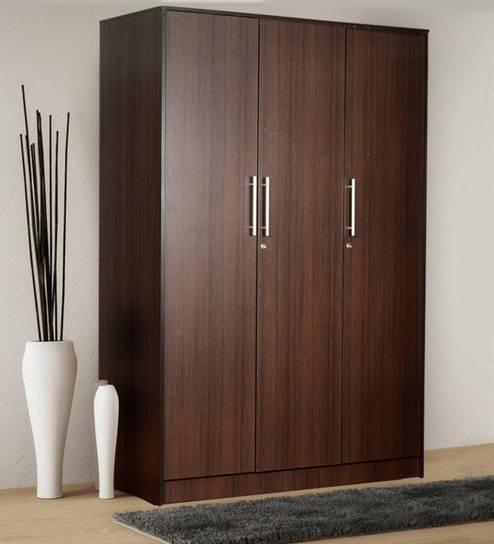 Yuina Three Door Wardrobe In Wenge Finish On Rent