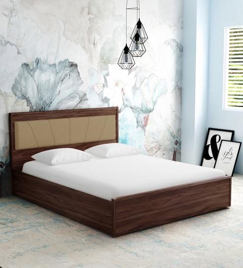 Buy Yuko Queen Size Bed With Hydraulic Storage In Columbia Walnut
