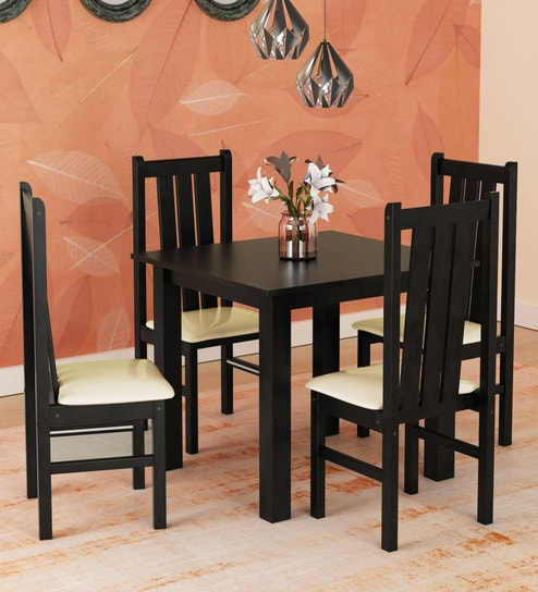 Buy Yung Four Seater Dining Set In Cappuccino Finish By