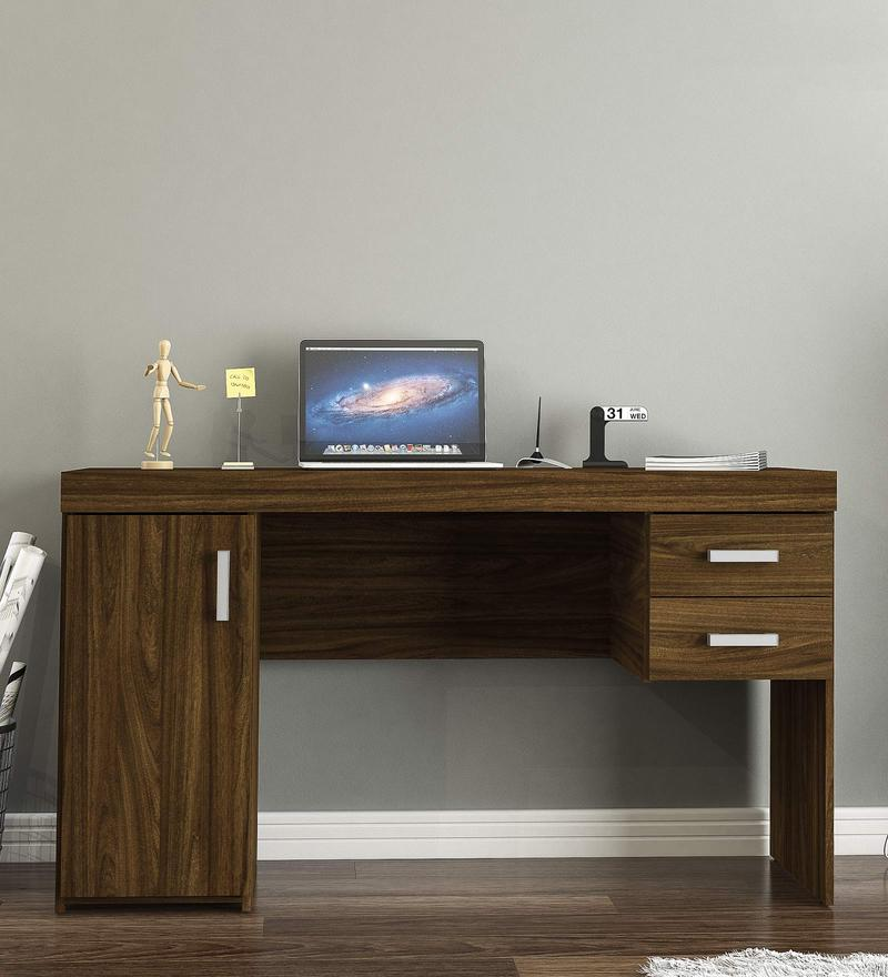 Yuki Study Table in Walnut Brown Finish by Mintwud
