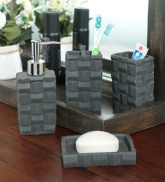 Zahab Ceramic Black Bathroom Accessories Set - Set Of 4