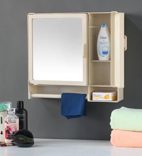 Buy zahab action two door plastic cabinet cream online for Zahab bathroom cabinets