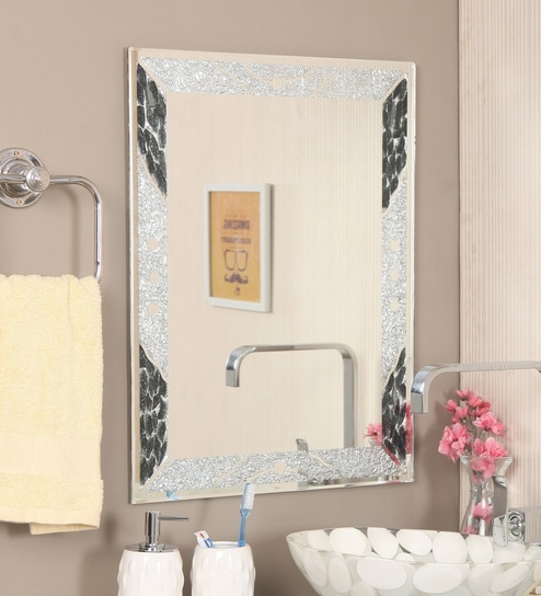 Zahab Black Glass Bath Mirror