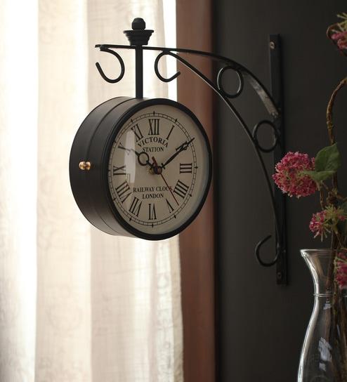 black iron 9 x 5 x 12 inch victoria double sided wall clock by zahab
