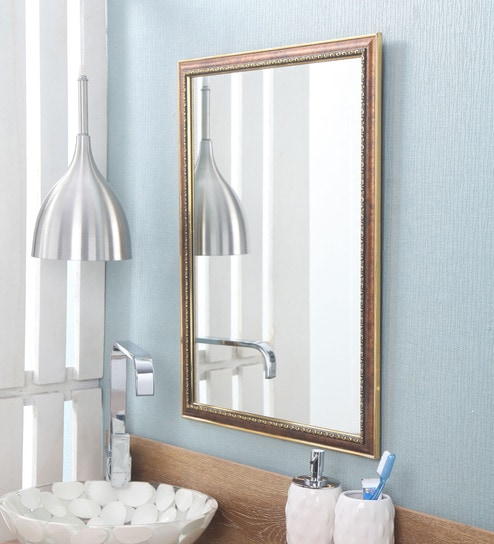 Buy Zahab Brown Fiber Frame Wall Mounted Mirror Online Wall