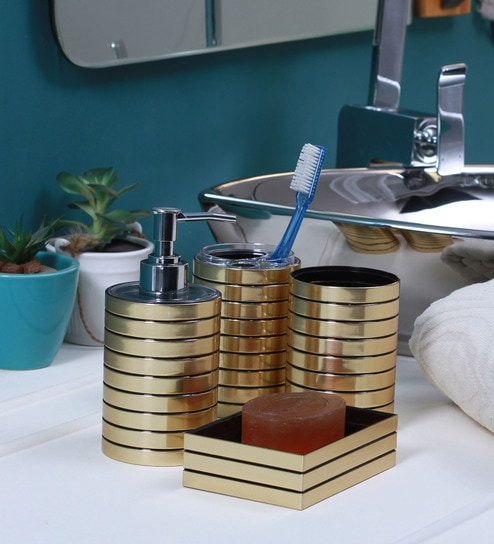 Polyresin Acrylic Counter Top Bathroom Accessories In Gold Finish Set Of 4 By Zahab
