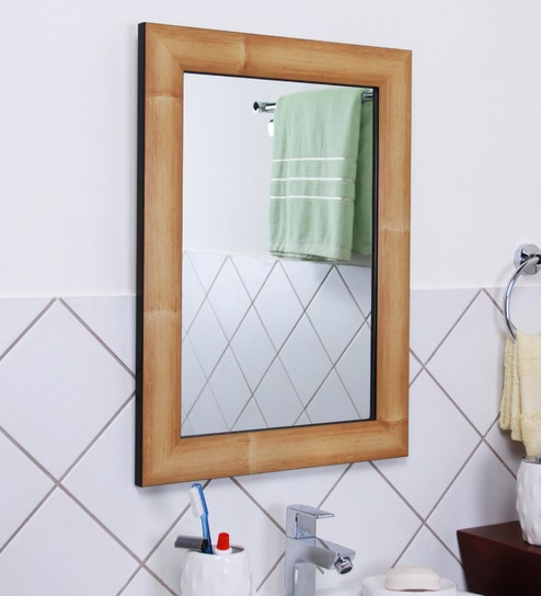 Zahab Natural Fibre Bamboo Frame Bathroom Mirror