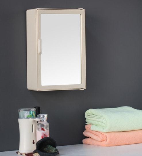 zahab medium single door plastic cabinet cream