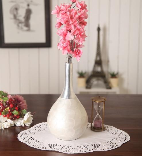 Buy Zahab White Aluminium Pentola White Flower Vase Online Vases
