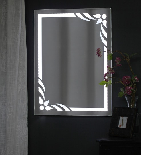 Wall Mounted Mirror buy zahab white glass flower led wall mounted mirror online