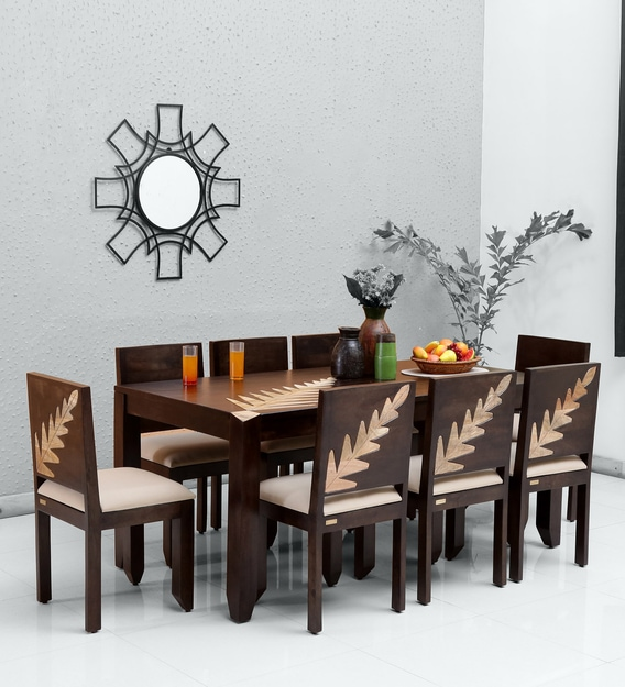 Buy Zabel Solid Wood 8 Seater Dining Set In Dual Tone Woodsworth By Pepperfry Online Transitional 8 Seater Dining Sets Dining Furniture Pepperfry Product