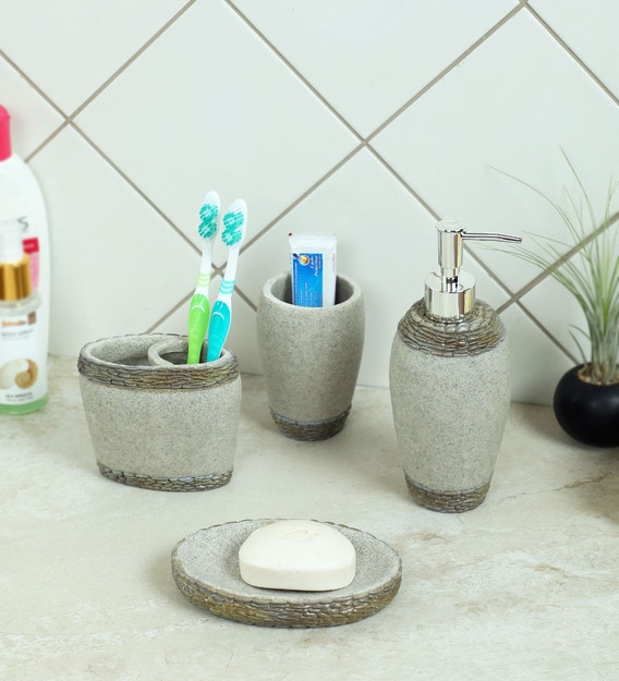 Buy Polyresin Counter Top Bathroom Accessories In Green White Set Of 4 By Zahab Online Accessory Sets Accessory Sets Discontinued Pepperfry Product