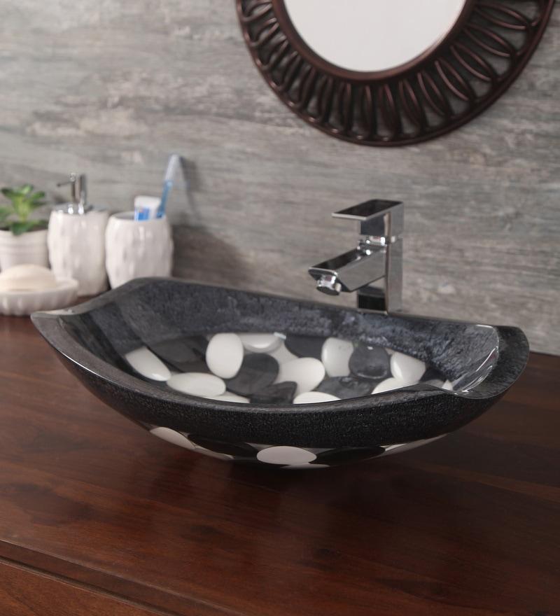 Zahab Oval Pebble Multicolour Resin Wash Basin