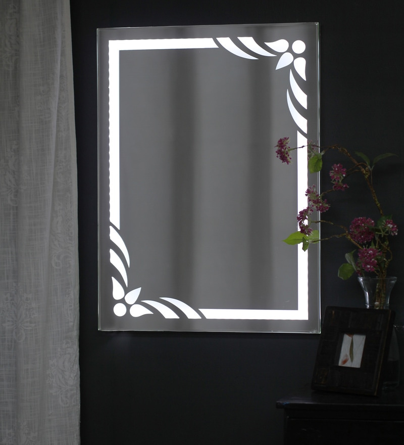 White Glass Flower LED Wall Mounted Mirror by Zahab