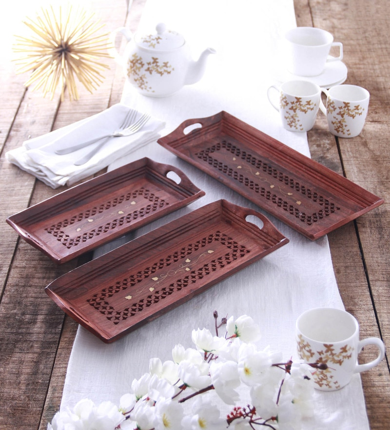 Zahab Wooden Handicraft Serving Tray with Brass Work - Set of 3