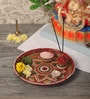 Zahab Multicolour Stainless Steel Fancy Stone Decorative Meenakari Puja Thali