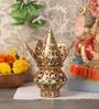 Multicolour Stainless Steel Flower Design Meenakari Coconut Kalash Set by Zahab
