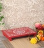 Red Ply Wood Handcraft Puja Patla by Zahab