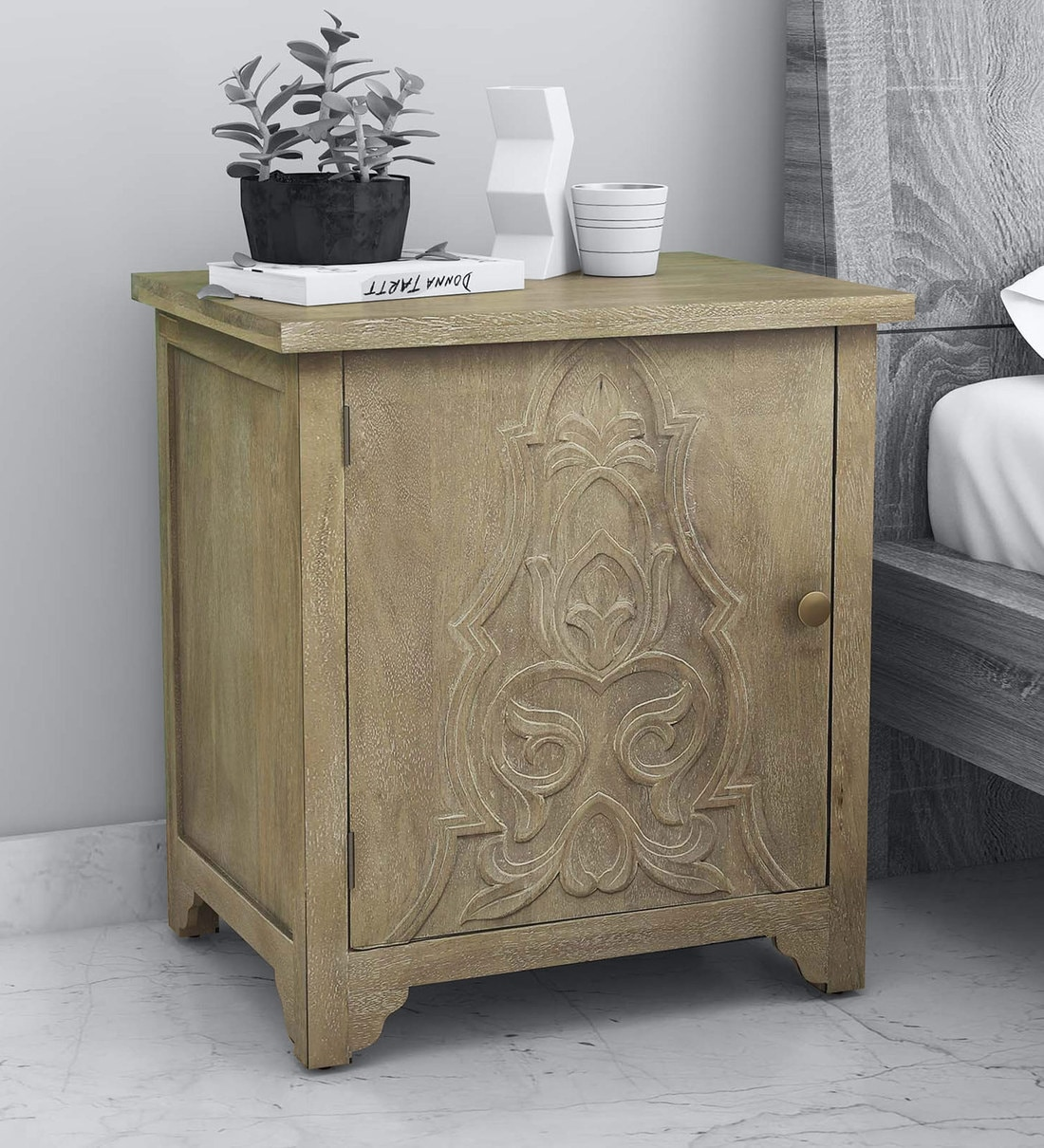 Picture of: Buy Zenith Solid Wood Carved Lhs Bedside Cabinet In White Wash Finish By Mudramark Online Bedside Cabinets Tables Furniture Pepperfry Product