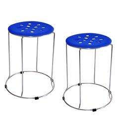 Zecado Blue Stainless Steel & PVC Kitchen Stools - Set Of 2