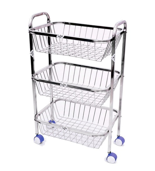 236 & Stainless Steel Rectangular Kitchen Trolley - 25 X 16 Inches By Zecado